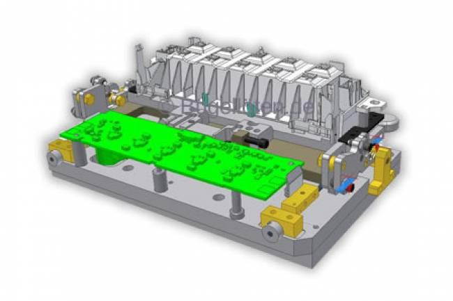Bauteilaufnahme mit Montagevorrichtung zur Lötung einer LCD Anschluss-Flex auf einer Leiterplatte.